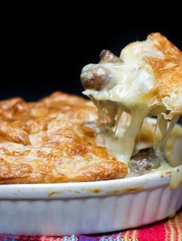 Cheesy Chicken & Mushroom Pie