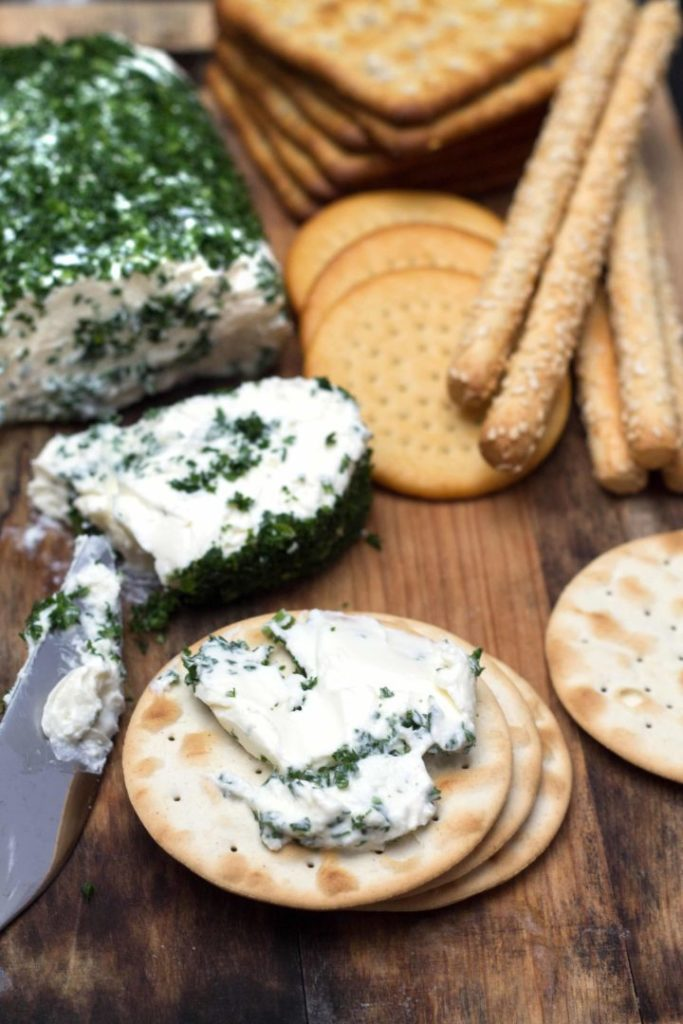 cream cheese spread on crackers