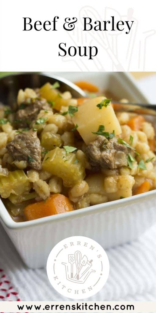 a bowl of beef and barley soup ready to eat