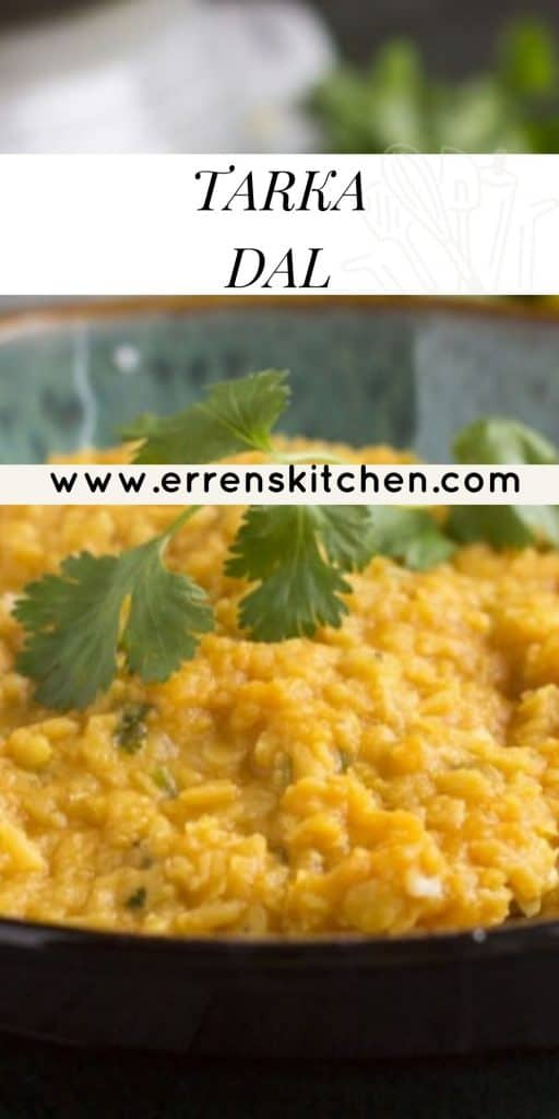 a bowl of tarka dal ready to eat with rice