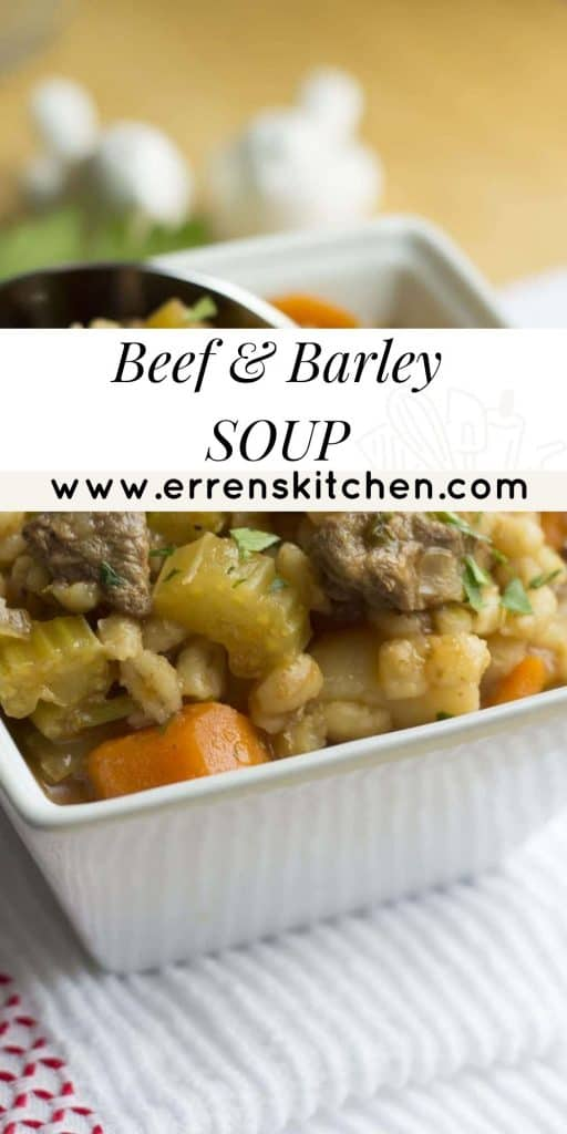 A bowl of beef and barley soup ready to serve