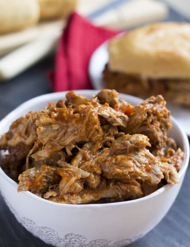 Italian Pulled Pork - Erren's Kitchen - This slow cooker recipe can be served in a sandwich smothered in Mozzarella or with pasta - either way it's one fantastic dish!