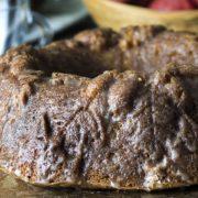 a close up of glazed apple cake