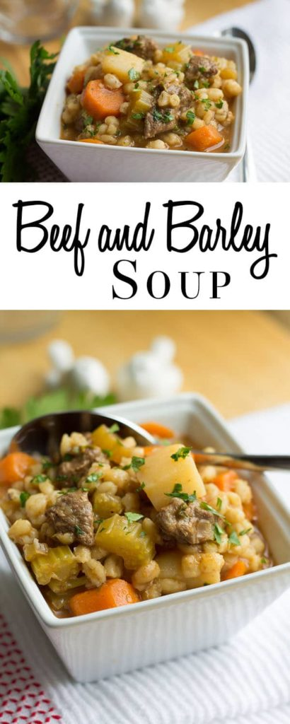 Beef & Barley Soup - Erren's Kitchen - Dish up a hearty bowl of comfort on a cold day with this simple recipe for Beef & Barley Soup.