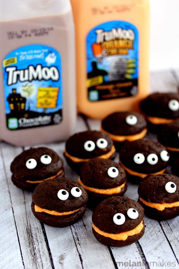Mini Monster Chocolate Whoopie Pies with Orange Cream Filling