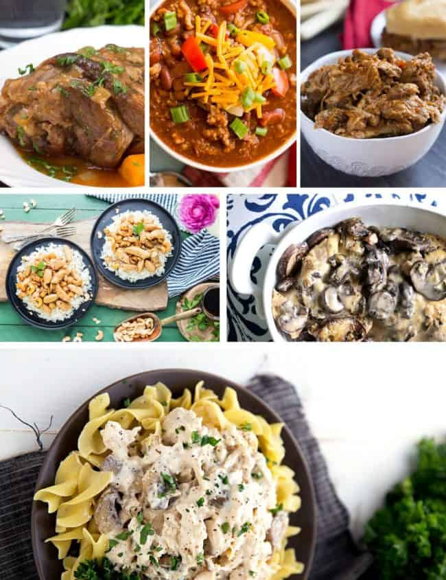 a collage of slow cooker dishes