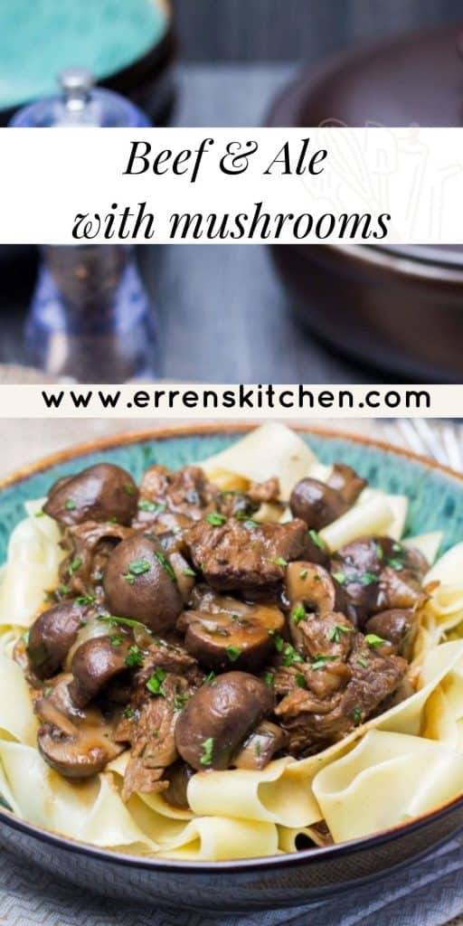 slow cooked beef and ale with mushrooms on a bed of pasta