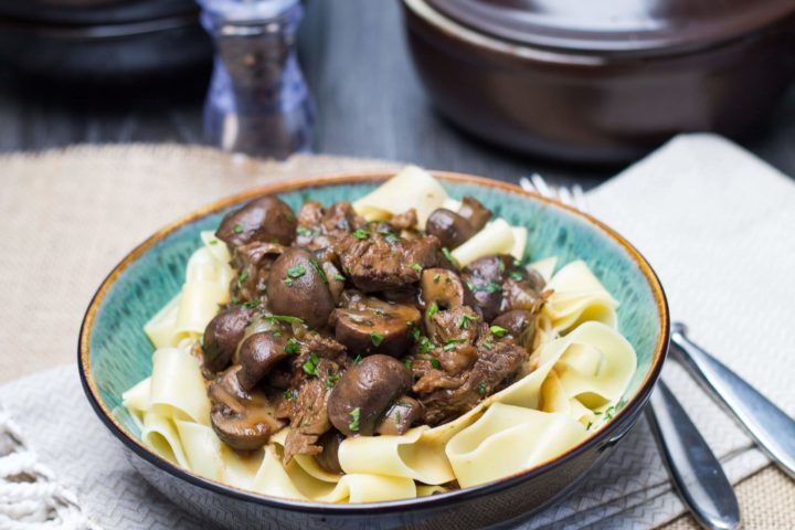 Slow Cooker Beef & Ale with Mushrooms - Erren's Kitchen - This dish is comforting classic - this version is slow cooked resulting in tender meat in and a dark rich gravy.
