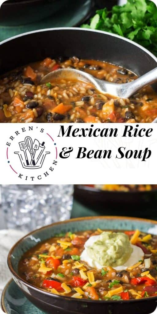 a bowl of mexican rice and bean soup ready to eat