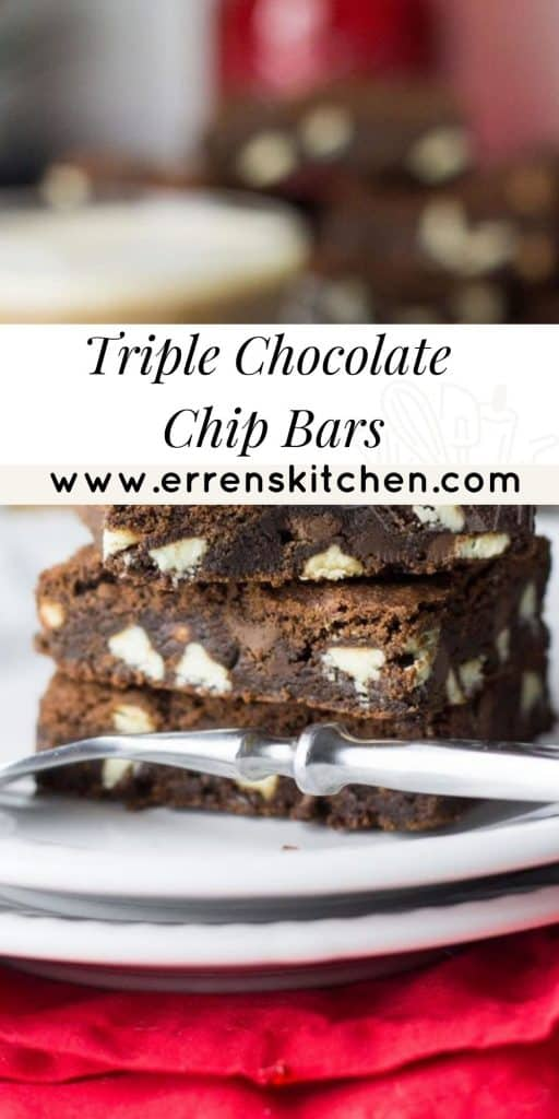 a plate with a triple chocolate chip bar ready to eat