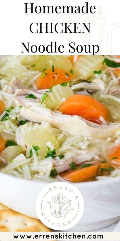 a bowl of chicken noodle soup ready to eat