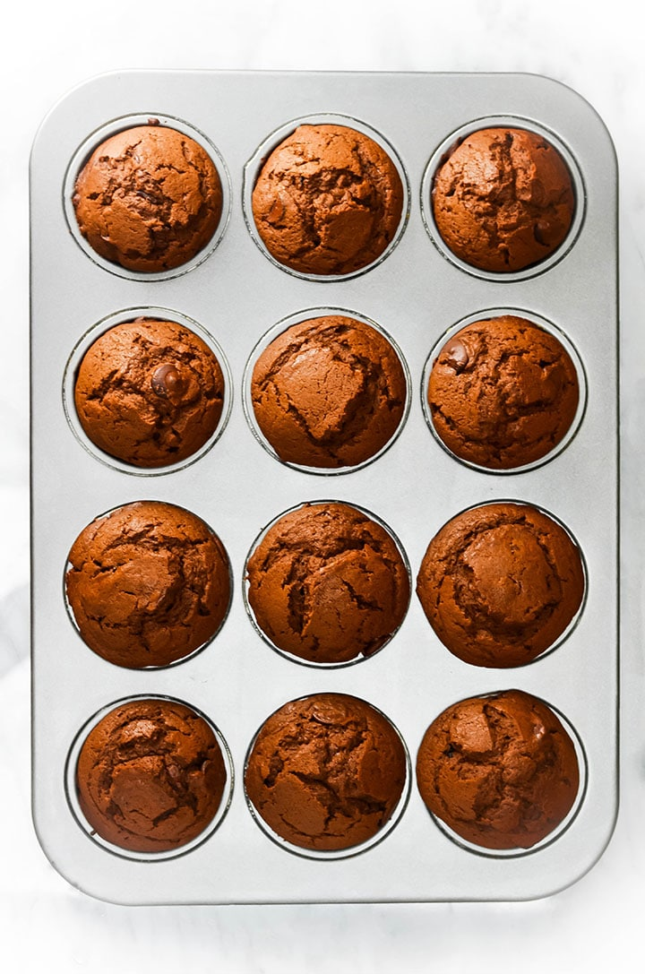 Double Chocolate Chip Muffins in the pan fresh out of the oven