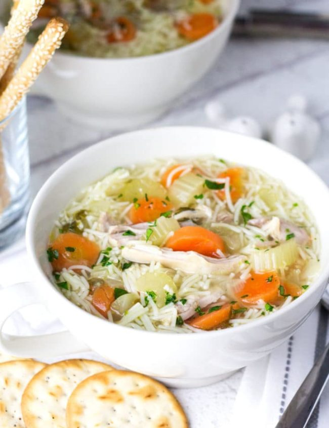 Homemade Chicken Noodle Soup - Erren's Kitchen - This recipe makes a flavorful stock and a soup that will warm you up on a chilly day. What could be better than home cooked chicken soup?