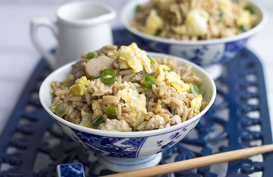 Low Fat Chicken Fried Rice - Erren's Kitchen - This flavorful chicken fried rice has a fraction of the fat of your normal take out and makes a fantastic, a super-speedy one-pan supper.