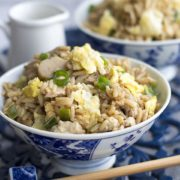 A bowl of low-fat chicken fried rice