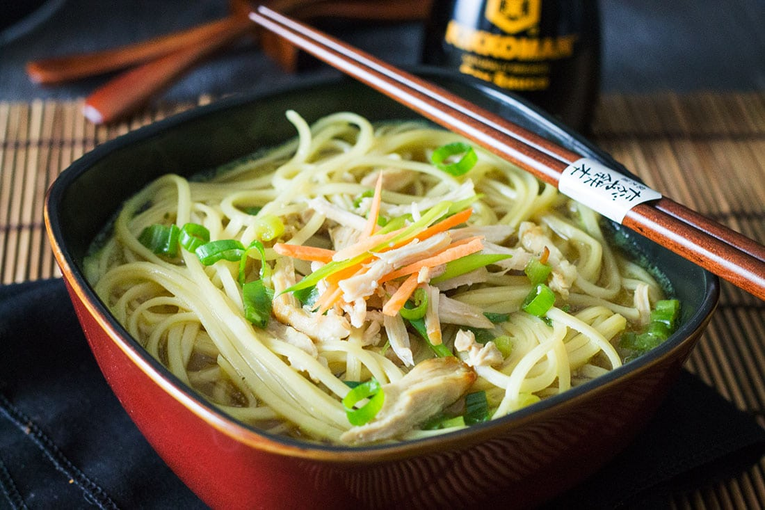 Quick & Easy Chinese Chicken Noodle Soup - Erren's Kitchen - This recipe proves that Asian food doesn't have be complicated - this simple soup is ready in just ten minutes.
