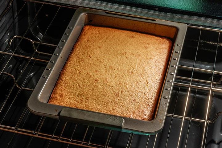 Easy Homemade Cornbread baking in the oven