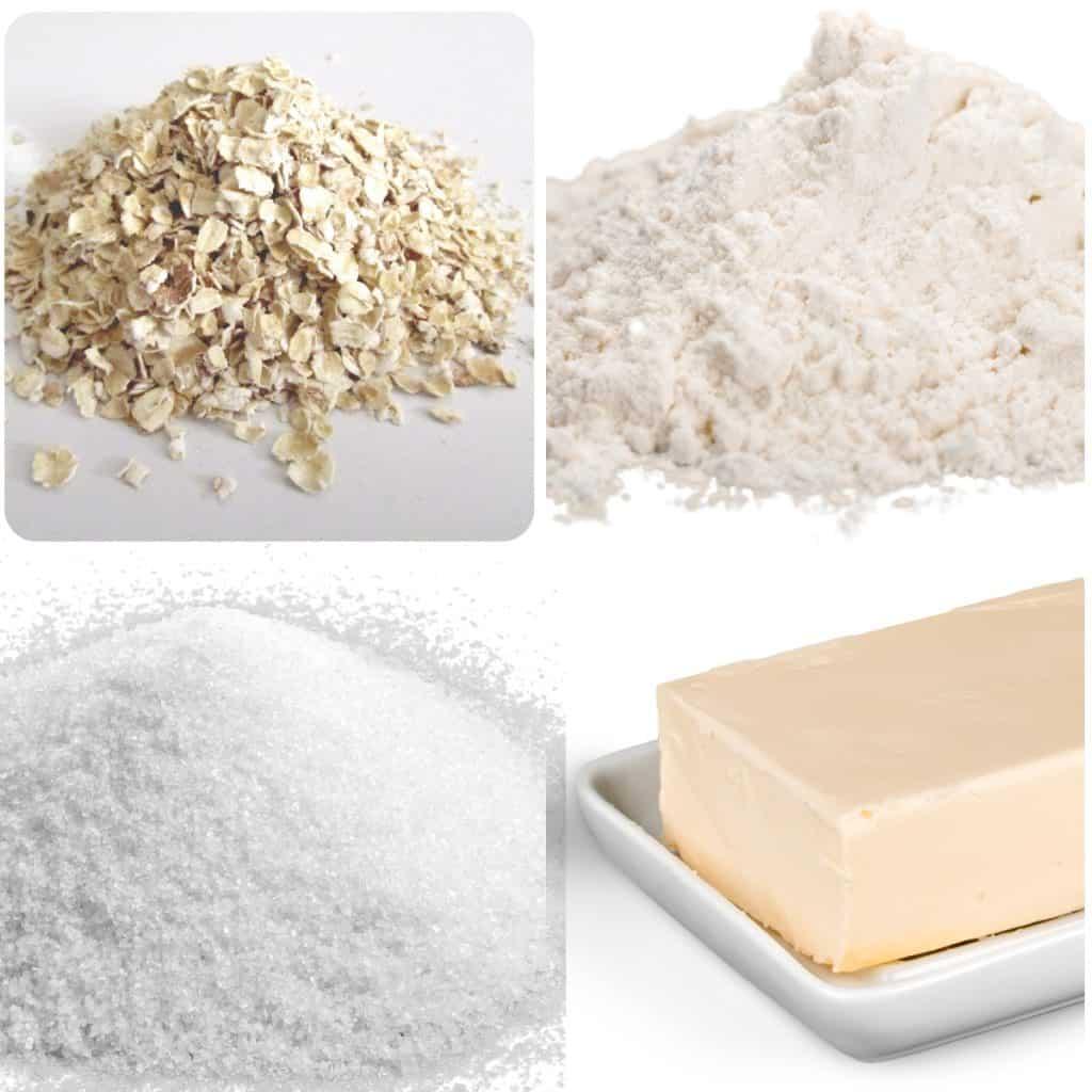oats, flour, suagr and butter