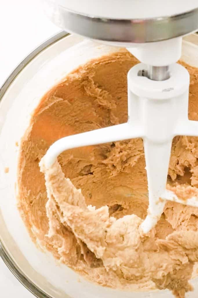 the butter and sugars creamed together in a mixer