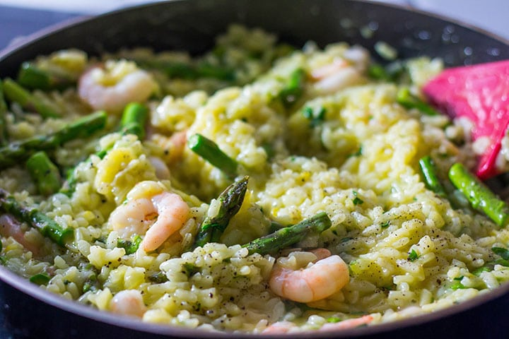 Shrimp and Asparagus Saffron Risotto cooked in the pan