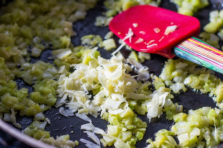 The galic added to the pan with the onions and celery