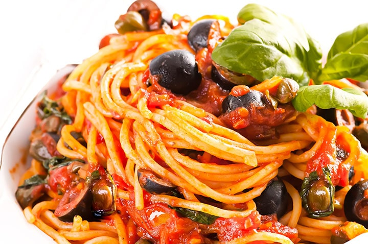 Spaghetti Alla Puttanesca freshly served and ready to eat