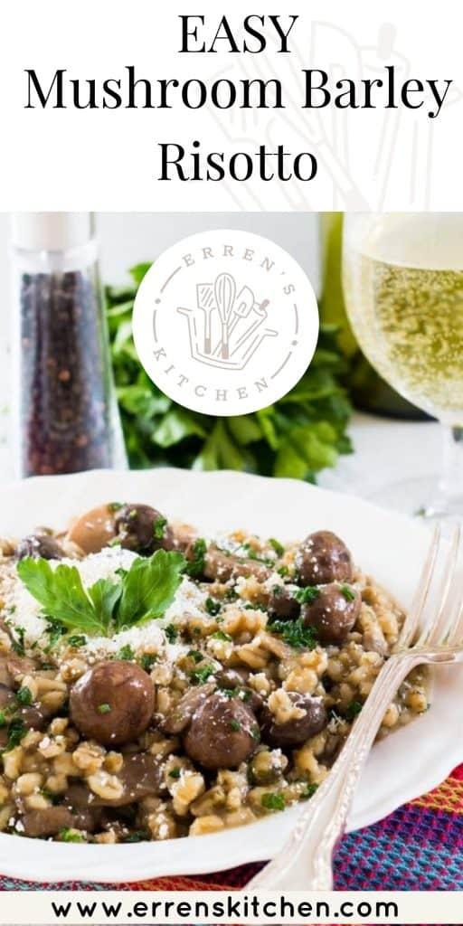 a bowl of mushroom barley risotto