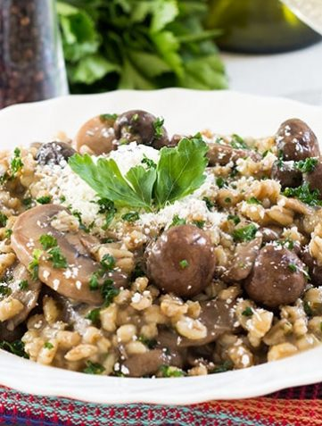 Skinny Mushroom & Barley Risotto