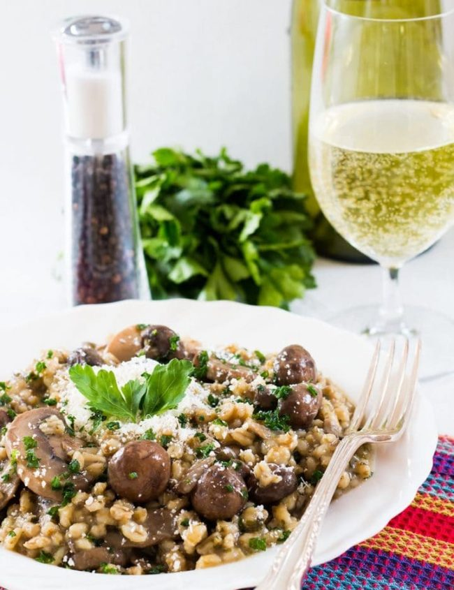 Skinny Mushroom & Barley Risotto - Erren's Kitchen - Love risotto? Why not try this healthy, low-fat version, that swaps traditional risotto rice for fiber-rich pearl barley. This recipe is not only healthier, but it's wonderfully delicious too!