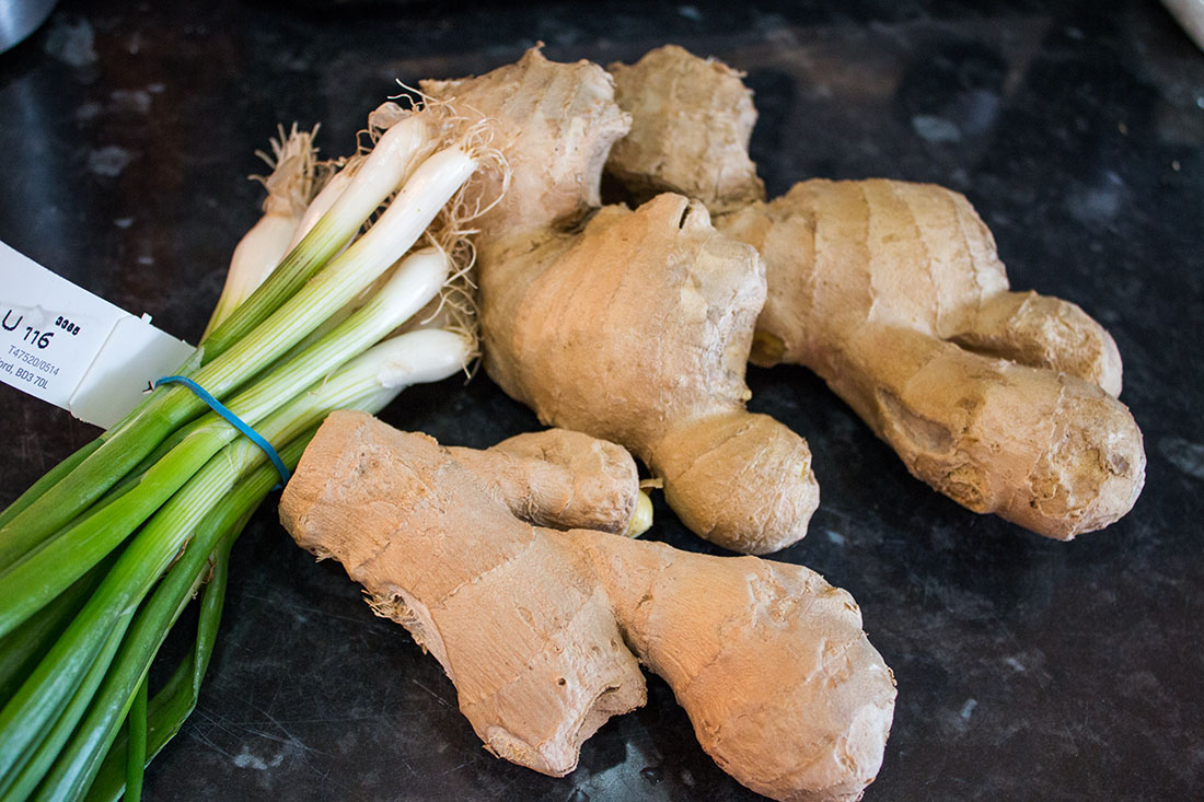 spring onions and ginger root