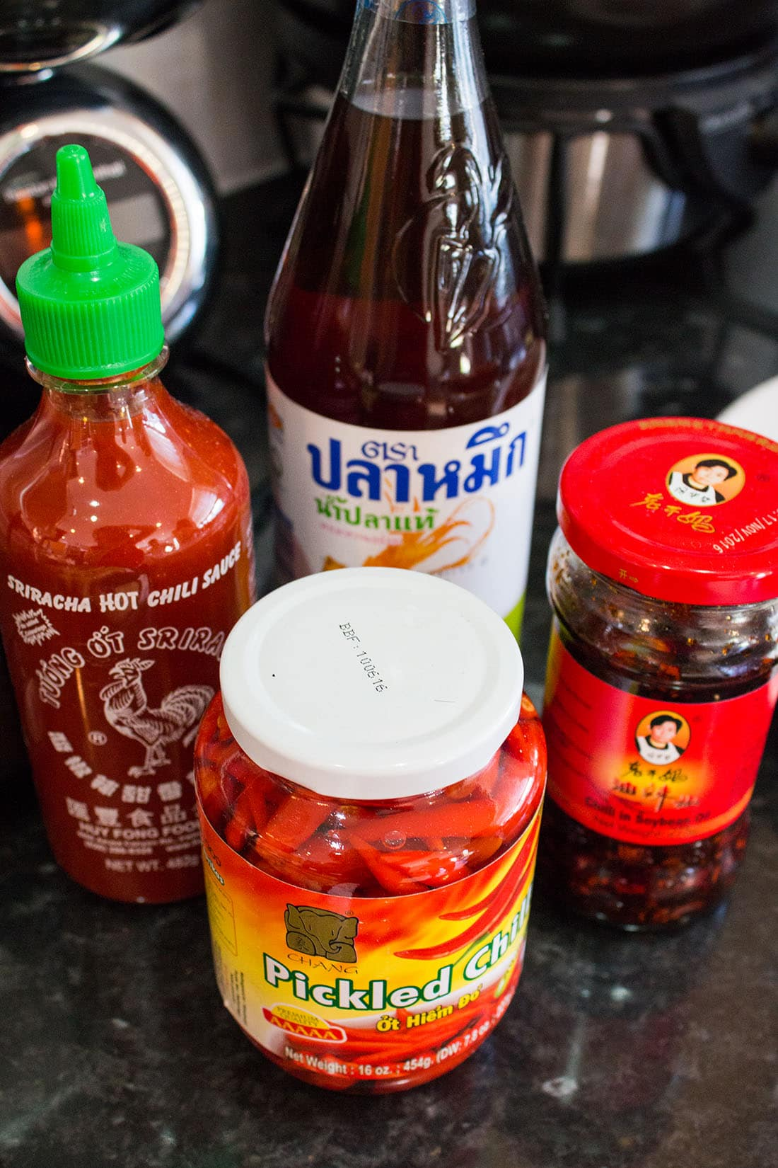 a selection of Thai sauces