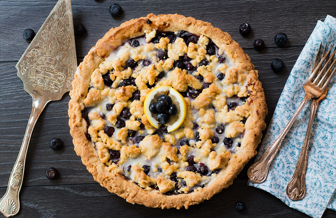 for Blueberry Lemon Shortbread Tart. This tart has a buttery, lemon ...