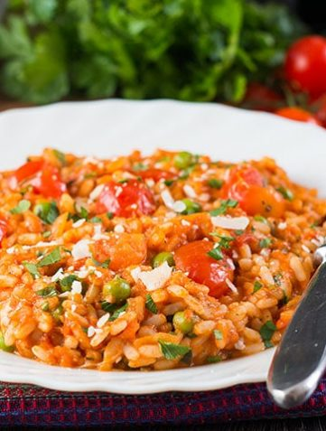 Roast Tomato and Pea Risotto