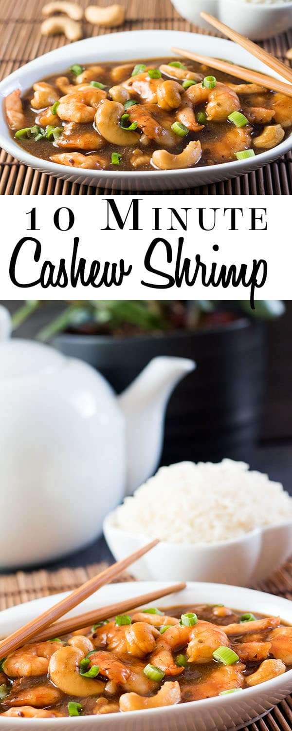 This Chinese recipe for 10 Minute Cashew Shrimp from Erren's Kitchen is quick, easy, delicious and on the table in less in 10 minutes - what more could you ask for?