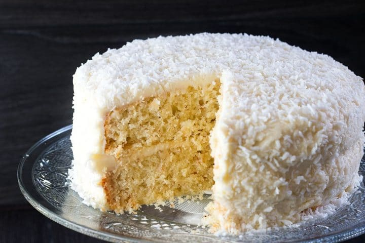 The Coconut Lover's Dream Cake cut showing the inside of the cake.