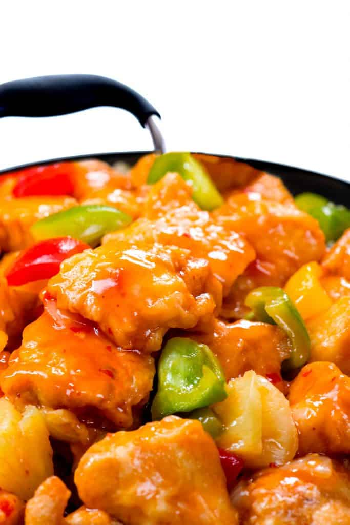 a pan of Sweet Sour Chicken with Pineapples ready to serve
