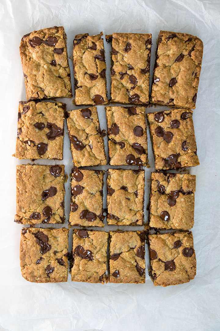 The sliced chocolate chip oatmeal cookie bars.