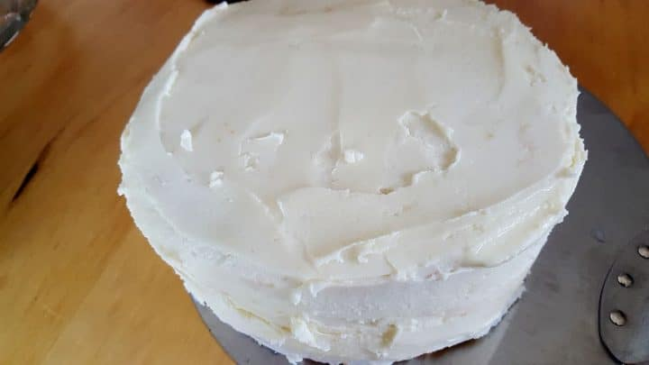 The layers covered in icing.