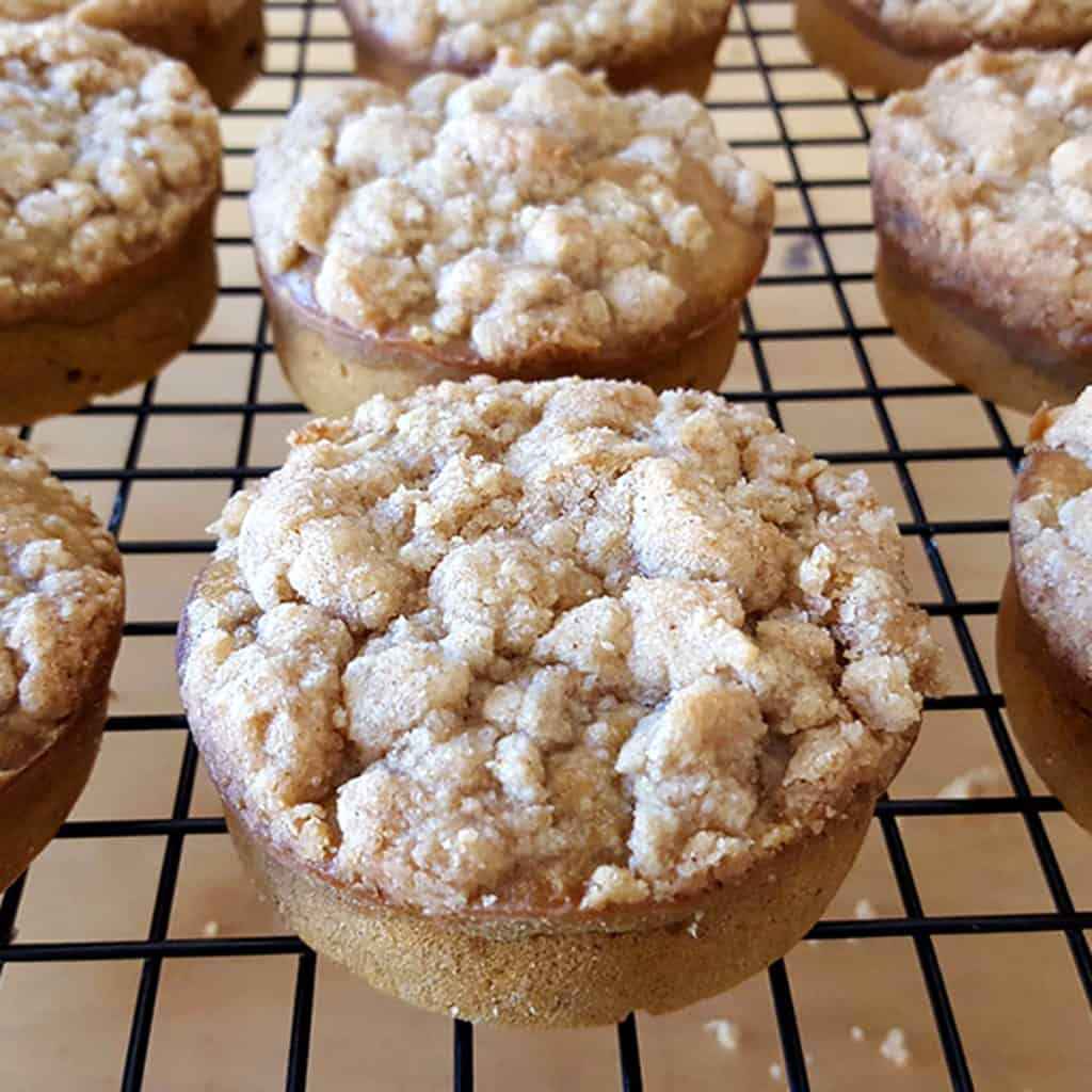 the fresh baked pumpkin coffee cakes cooling on a cooling rack