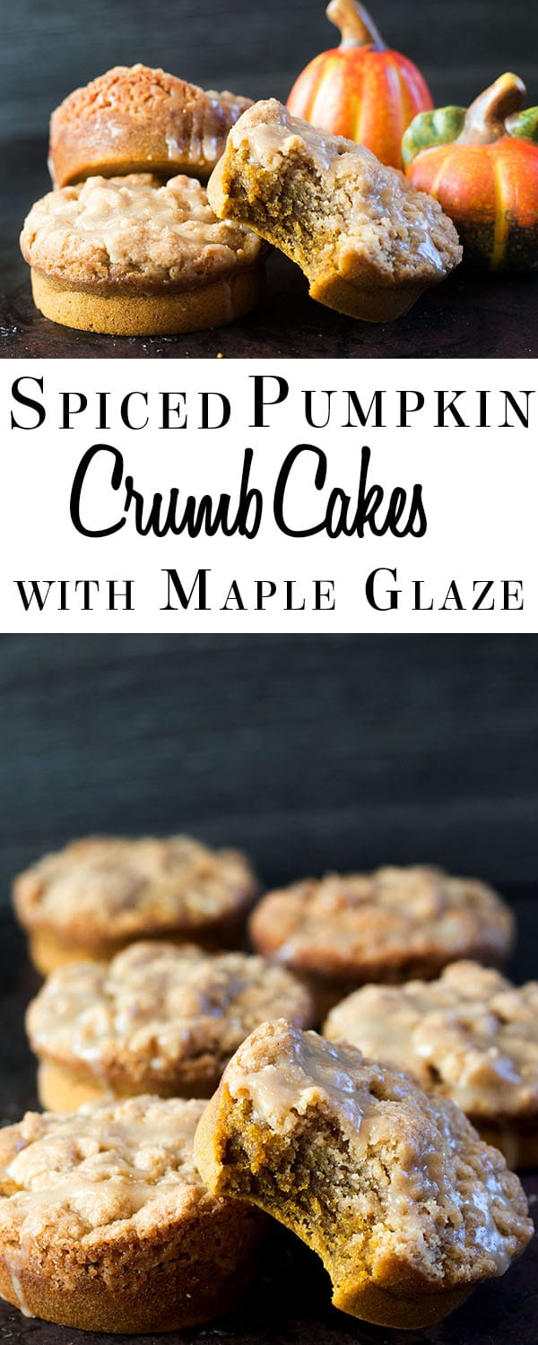 Pumpkin Spiced Crumb Cakes with Maple Glaze