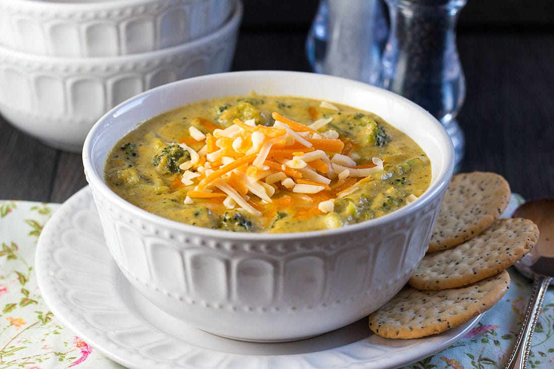Come home to a warming bowlful of this filling, Low Carb Broccoli Cheese Soup recipe from Erren's Kitchen. It's a thick and comforting vegetable soup that's as good for a meal as it is for a dinner party appetizer.