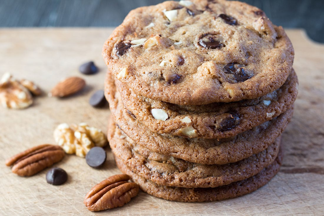 Nutty Chocolate Chip Cookies - nuts, peanut butter and ...