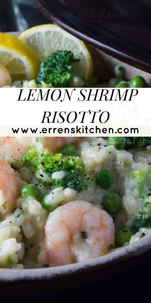 shrimp risotto and broccoli in a bowl