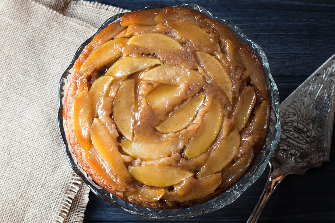 Spiced Caramel Apple Upside-Down Cake Recipe — Dishmaps