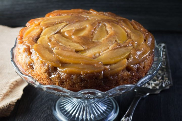Apple cinnamon upside down cake on a serving dish