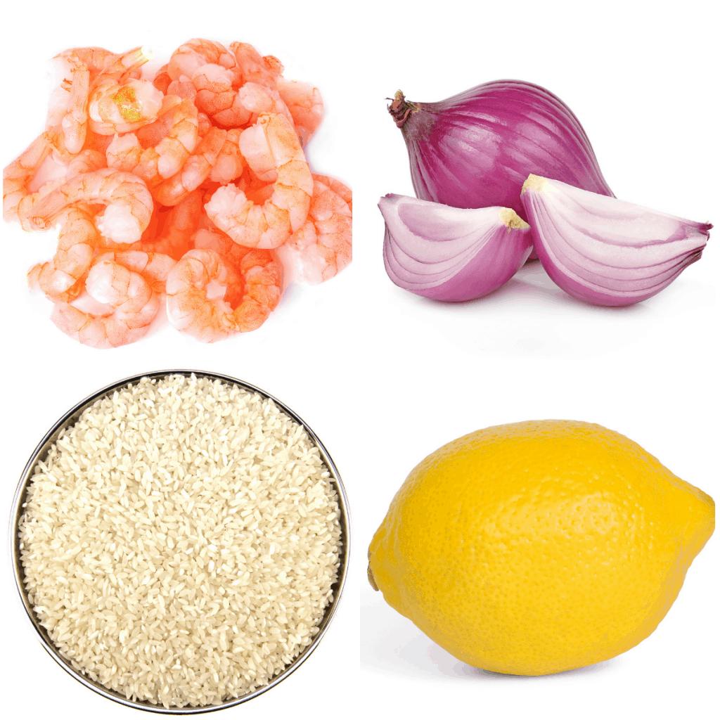 shrimp, shallot, rice and lemon