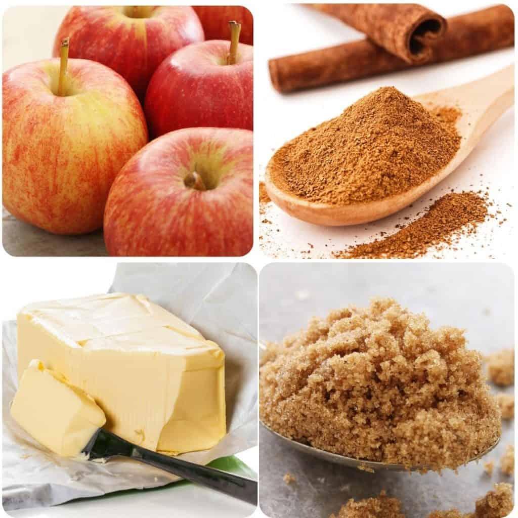 ingredients: apple, brown sugar, butter and cinnamon
