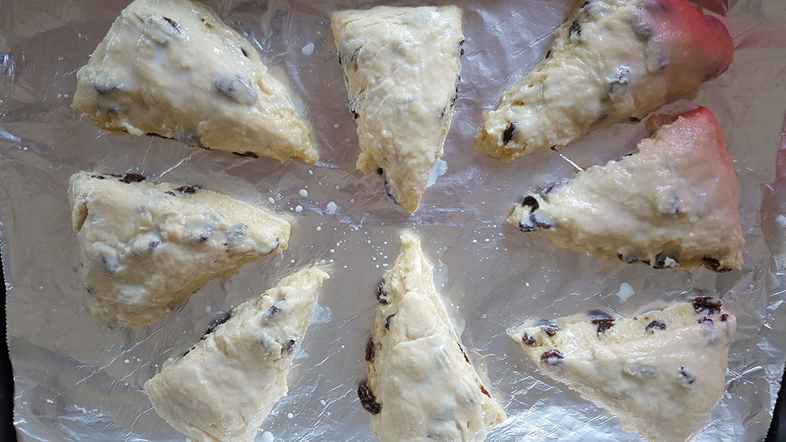 Raisin Scone batter cut into triangles
