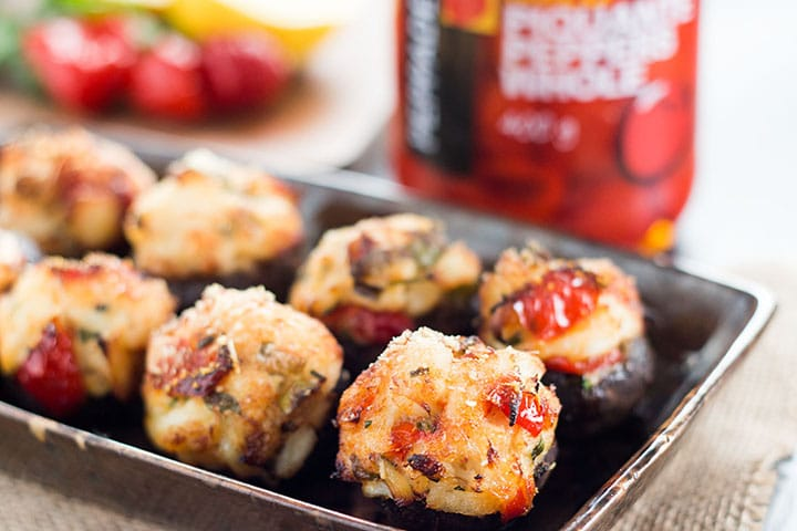 Cooked, golden Easy Crab Stuffed Mushrooms