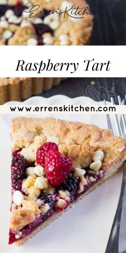 a slice of raspberry tart